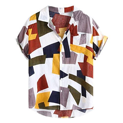 Reooly Fashion Mens Impreso Hawaiian Loose Short Sleeve Casual Botones Camiseta(C-Blanco,XXXL)