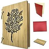 Grußkarte aus Holz als Liebeskarte und Dankeskarte - Bambuskarte mit Rosen ca. A6 Format, handgefertigt - Set mit Einlagepapier, Briefumschlag und Probest