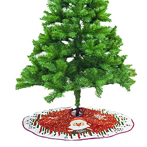 LONTG Christmas Tree Skirt Red Blue Santa Claus Snowy Elk Tree Mat Christmas Tree Base Cover Christmas Ornaments Decorations Xmas Party Decor 90cm(35inches)