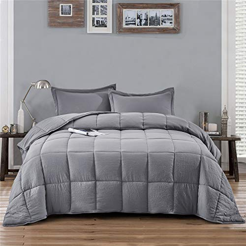 HIG 3pc Prewashed All Season Goose Down Alternative Comforter Duvet Insert -Quilted Comforter with Corner Tabs -Box Stitched -250GSM Fiberfill Shabby Chic Farmhouse Style Bedding(Salomon,Queen,Gray)