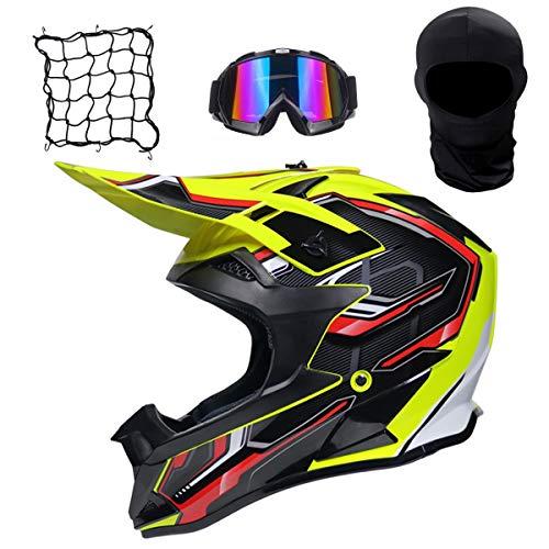 GZMES – Auto- en motorhelm voor motorcross, motorcrosshelm voor volwassenen, met veiligheidsbril, netvak, motorfietsen, off-road downhill, endurohelm, ATV, MTB, quad, fietshelmen voor volwassenen, mannen en vrouwen