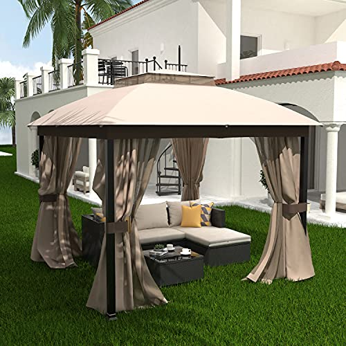 Homevibes 10x10 Gazebo with Mosquito Netting and Privacy Curtains Outdoor Patio Gazebo Vented Soft Top Gazabo Canopy Tent with Steel Frame, Beige
