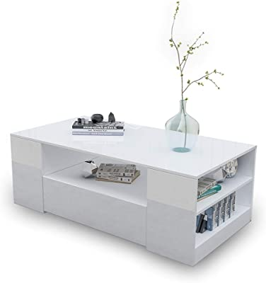 Coffee Table High Gloss 2 Drawers Storage Shelf Wood White Living Room 120CM