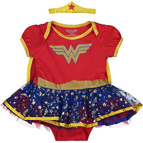 DC Comics Body Bimba Wonder Woman con Gonna in tutù e Fascia con Tiara e Mantello – Costume Carnevale, Rosso 6-9 Mesi