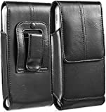 suily Cell Phone Belt Holster Waist Pouch, 5.5' Universal Vertical Leather Flip Cover Phone Belt Clip Case Magnetic Closure Pouch for iPhone 6 Plus/7 Plus/8 Plus Samsung Android Phones(Black)