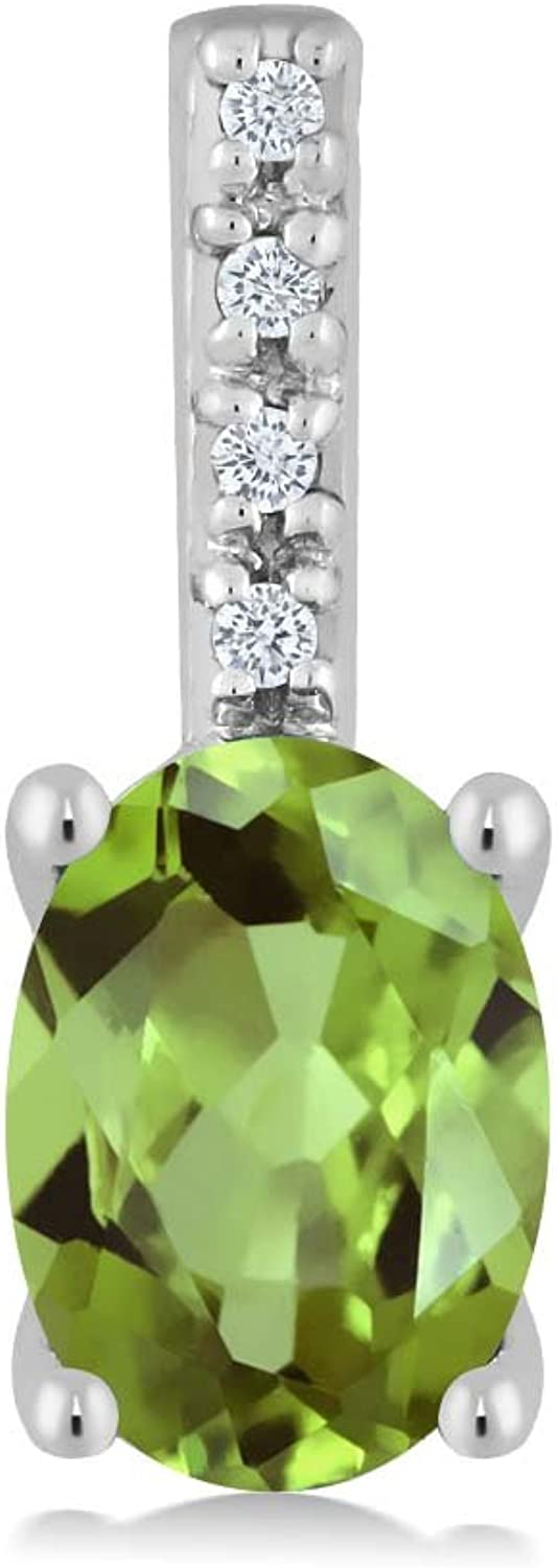 14K White gold Women's Oval Green Peridot and Round White Diamond Pendant Necklace (7X5MM Center, 0.82 cttw)