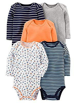 Simple Joys by Carter's Baby Boys' 5-Pack Long-Sleeve Bodysuit, Sailboat/Blue Stripe/Orange/Gray, 3-6 Months