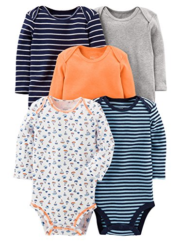 Simple Joys by Carter's Baby - Confezione da 5 body a maniche lunghe ,Sailboat/Blue Stripe/Orange/Gray ,12 Months