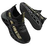 Scarpe per Bambino Ragazzo Sportive Sneakers Traspirante e Leggera Scarpe Comode Bimbo da Esterno(Etichetta 39,Nero)