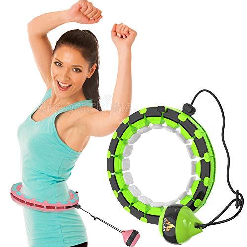 Smart Hula Hoop Reifen Fitness Gewichtsverlust Hula Hoop Reifen Erwachsene Nicht Fällt 360°Surround Massage mit 24 Massagenoppen Abnehmbare Einstellbar Größ ideal für Anfänger Kinder Erwachsene (Grün)
