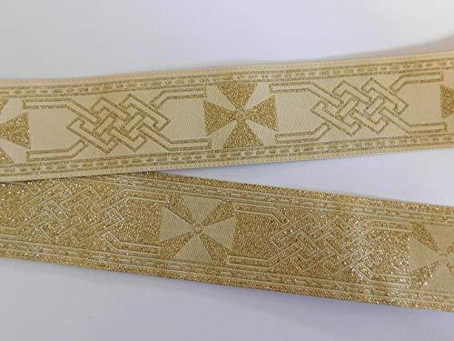 Jacquard gET Ribbon gET Trim Tape Gold~Cream~Metallic-Celtic Knot~Celtic Cross Pattern~reversible-1-1/4'