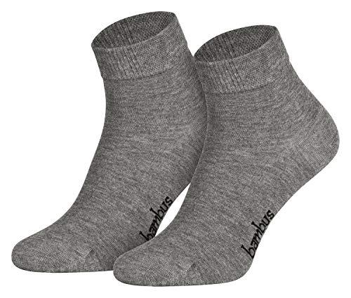 Piarini Gr. 39-42 6 Paar Bambussocken Damen-Socken Frauen-Kurzschaf kurz antibakteriell grau