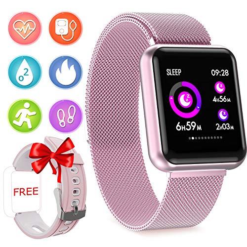 Fitness Armband mit Pulsmesser Wasserdicht IP67 Fitness Tracker Pulsuhren Sportuhr Aktivitätstracker für Damen Herren Vibrationsalarm Anruf SMS Whatsapp Beachten kompatibel mit iPhone Android