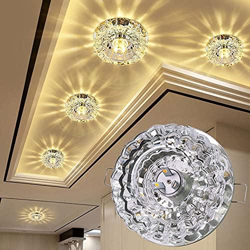 CRYSTAL LED Downlight, accesorio de iluminación de montaje en descarga 3W, luz de techo empotrada con apertura de 5-9 cm, focos de techo de decoración para pasillo de corredor, sala de estar, dormitor