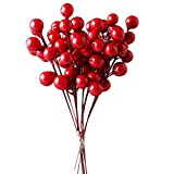 IFOYO Red Berries,10 Artificial Red Berry Stems for Christmas Tree Decorations, Crafts, Holiday and Easter Home Decor, 7.28 Inches