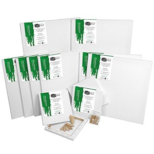 Artina FSC® Keilrahmen 12er Set Akademie - 30x40 cm, 20 x20 cm, 20x30 cm, 30x30 cm & 40x60 cm Leinwand Set - 100% Baumwolle 280g/m²