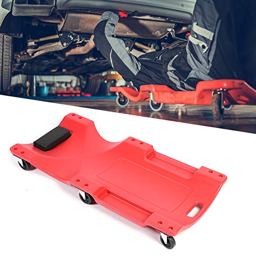 Mechanic Plastic Creeper 40 Inch 6-Wheel Padded Mechanic Creeper Automotive Thickened Rolling Garage Blow Molded Ergonomic HDPE Body with Padded Headrest and Dual Tool Trays, 350 Lbs Capacity Red
