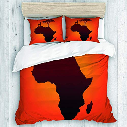 AXEDENRRT King 3 Pieces Lightweight Microfiber Polyester 100% Washed Microfiber Savannah Wild Design Safari Map with Continent Giraffe and Tree Silhouette Bedding Comforter Cover Sets