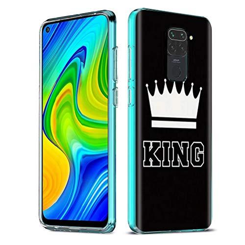 Yoedge Funda para Xiaomi Redmi Note 9 4G,Cárcasa Silicona Transparente con Dibujos Antigolpes Animados Diseño Patrón Suave TPU Bumper Case para Xiaomi Redmi 10X 4G (King,Negro-Blanco)