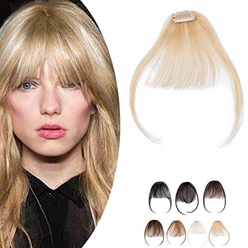SEGO Frangia Clip Capelli Veri Frangetta Extension 100% Remy Human Hair Sottile Attaccatura Invisibile #613 Bionod Chiarissimo