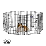 MidWest Foldable Metal Exercise Pen / Pet Playpen. Black w/ door, 24 W...