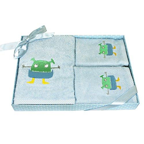 Harwoods Set di 3 asciugamani per bambini - confezione regalo - mostro - celeste