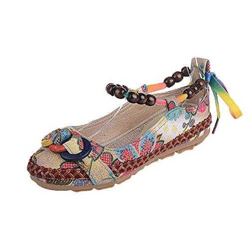 VJGOAL Damen Sandalen, Frauen Mädchen Retro Casual Bestickte Ethnische Perlen Runde Kappe Bunte Baumwolle Asakuchi Flache Schuhe Frau Geschenke (35 EU, Mehrfarbig)