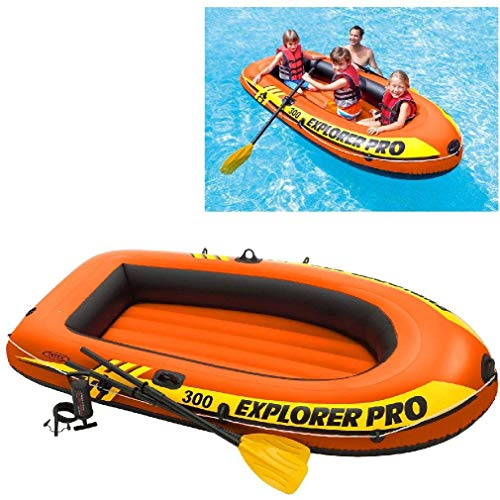 Intex Explorer Pro Inflatable Boat, Boat + Paddles + Pump, Two Person (196 x 102 x 33 cm)