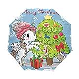 Paraguas plegable con diseño de árbol de Navidad y unicornio con tres pliegues, apertura automática, para el sol, la lluvia y el viento