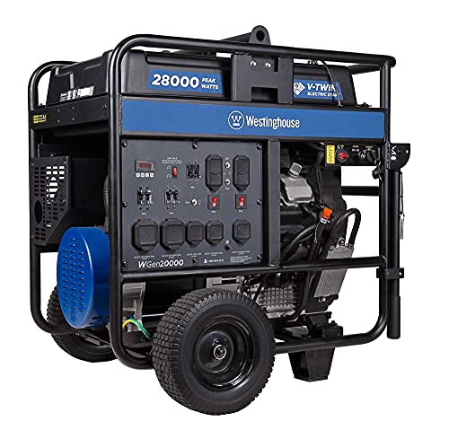 Westinghouse Outdoor Power Equipment WGen20000 Portable Generator 20000 Rated & 28000 Peak Watts Gas...