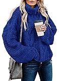 FARYSAYS Women's Autumn Winter Oversized Cable Knit Turtleneck Long Sleeve Sweater Pullover Outwear Blue Medium