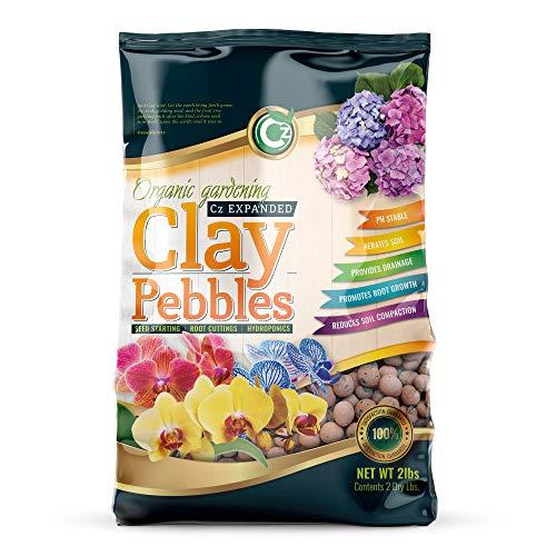 Organic Expanded Clay Pebbles Grow Media - Orchids • Hydroponics • Aquaponics • Aquaculture Cz Garden (4 LBS Organic Cz Garden Expanded Clay Pellets)