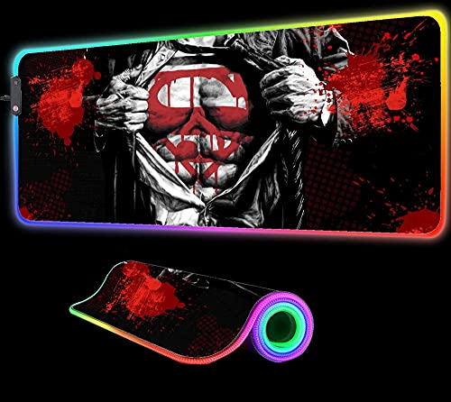 Mouse Pads Superman Cool Gaming Mouse Pad RGB LED Gaming Oversized Glowing Large Gamers Desk Mat Multiple Size 24 inch x12 inch