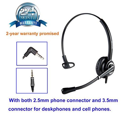 MAIRDI 2,5mm Telefon Headset mit Noise Cancelling Mikrofon CallCenter Headset Festnetztelefone Kopfhörer für Panasonic Cisco SPA Linksys Siemens Gigaset Grandstream Polycom DECT Schnurlostelefon