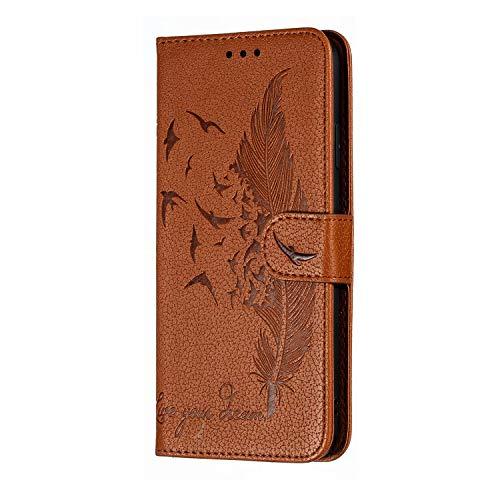 Nobranded Lvnarery Kompatibel für Hülle Huawei Y6p Handyhülle PU Leder Case Halbes Totem Hülle Tasche Soft TPU Innere Schutzhülle Schale Ständer Brieftasche,Khaki
