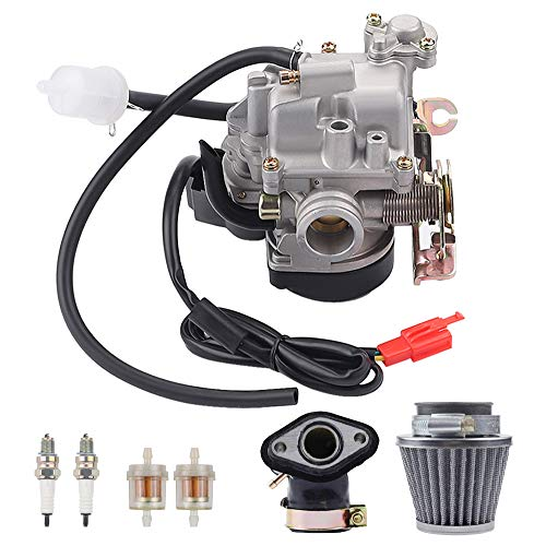 AloneGoer 20mm Big Bore 139QMB 139QMA Carburetor Intake Manifold Air Filter Compatible with GY6 49cc 50cc 80cc PD18J PD19J PD20J Scooters Moped ATV Go Kart Quads Buggy Kymco