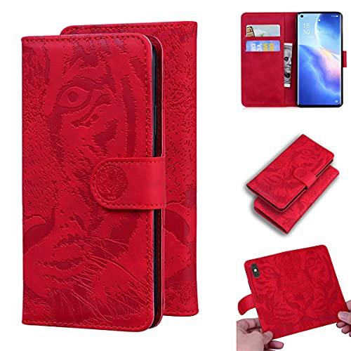 LMFULM® Hülle für Oppo Reno5 Pro+ 5G / Oppo Find X3 Neo (6,55 Zoll) PU Leder Magnet Brieftasche Lederhülle Tiger Drucken Flip Cover Ledertasche Stent-Funktion Rot