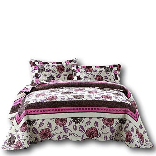 Dada Betten Chrysanthemum Vines Wende Patchwork Quilt Tagesdecke Set–Floral Hot Pink und Braun -, Polyester-Mischgewebe, multi, King Size
