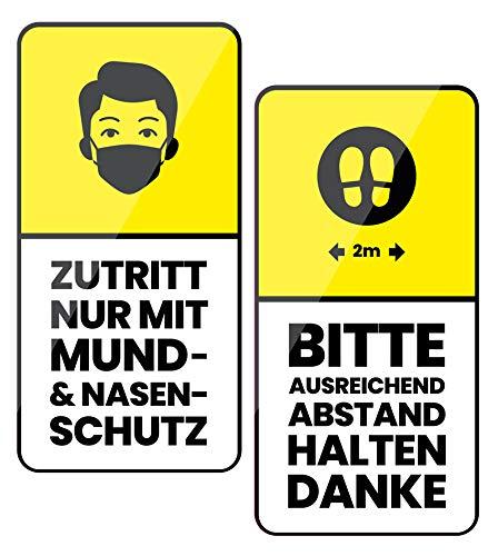 2er Set Aufkleber je 8,5x17cm Zutritt nur mit Mund- und Nasenschutz Maskenpflicht Bitte ausreichend Abstand halten Hygiene Vorschriften Corona Y002 (Deutsch)