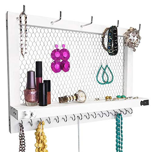 Outshine Large Farmhouse Wall Jewelry Organizer (White) | Wall Organizer For Earrings, Necklace, Bracelet, Hair Accessories | Chicken Wire Earring Holder | For Women, Wife, Mom, Girlfriend