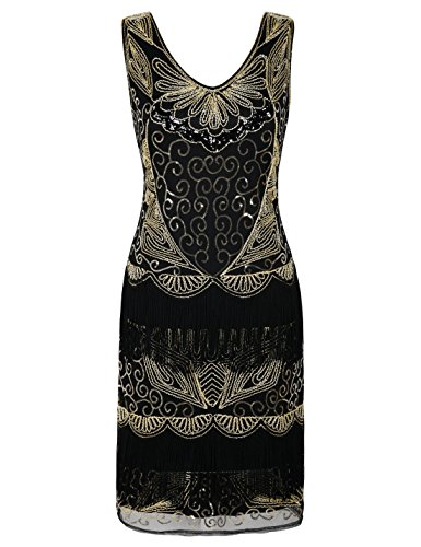 PrettyGuide Women's 1920s Dress Art Deco Inspired Sequin Costume Great Gatsby Dress XL/UK18 Gold