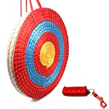 HANSPY Archery Target Traditional 3 Layers 20 inch Solid Straw Arrows Target for Shooting Practice with Archery Arrow Puller (Red)