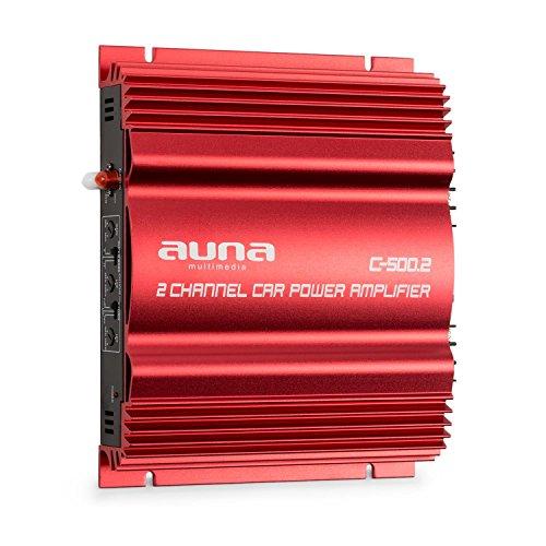 auna C500.2 - Car HiFi Verstärker, 2-Kanal Auto-Endstufe, Car Amplifier, Leistung: 2 x 95 Watt RMS, regelbarer Hoch- und Tiefpass-Filter, Frequenzbereich: 10 Hz - 30 kHz, brückbar, rot