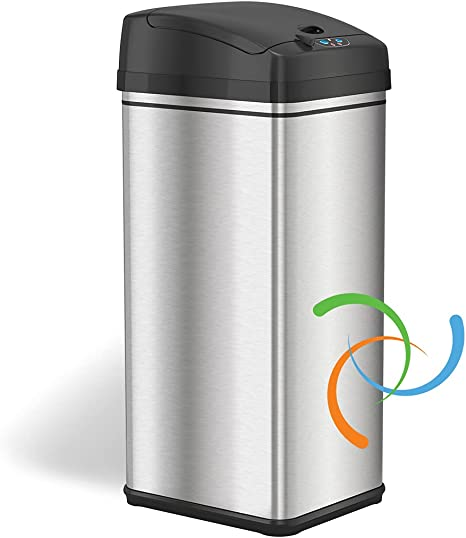 Amazon Com Itouchless 13 Gallon Automatic Trash Can With Odor Absorbing Filter And Lid Lock Power By Batteries Not Included Or Optional Ac Adapter Sold Separately Black Stainless Steel Home Kitchen