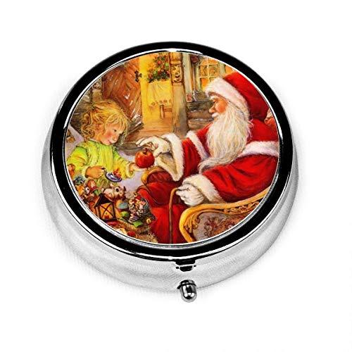 Papá Noel lindo regalo de Navidad para niña Vintage novedad caja de pastillas redonda bolsillo medicina tableta soporte organizador estuche para monedero