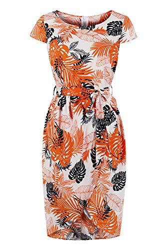 MisShow 2019 Damen Business Kleid Kurzarm Partykleid Pencil Etuikleider Bodycon Patterndruck Kleid S