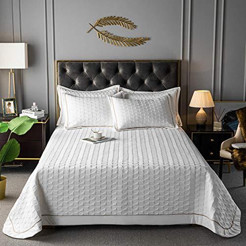 Juego de colcha de cama, funda de edredón acolchada de color puro, cómoda colcha de verano para aire acondicionado, sábana de cama, manta de sofá, juego de 3 piezas, 230250 cm