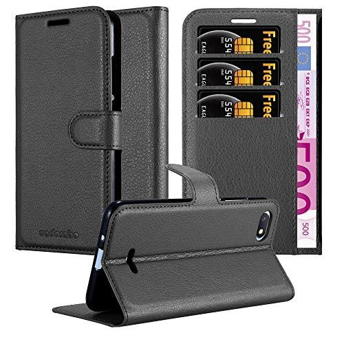 Cadorabo Funda Libro para Xiaomi RedMi 6A en Negro Fantasma - Cubierta Proteccíon con Cierre Magnético, Tarjetero y Función de Suporte - Etui Case Cover Carcasa