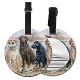 Pato Caza Labrador Retrievers Personalizado Cuero Lujo Maleta Etiqueta Conjunto de Accesorios de Viaje Redondo Etiquetas de Equipaje