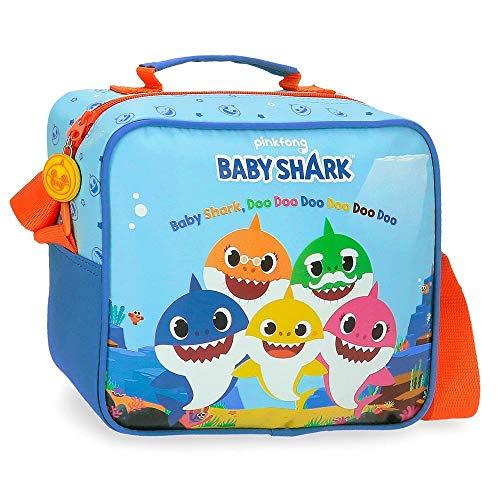 Baby Shark Shark Family Neceser Adaptable con Bandolera Azul 23x20x9 cms Microfibra